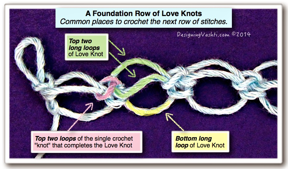 ... Ways to Crochet Into Love Knots (a.k.a. Solomons Knot, Lovers Knot
