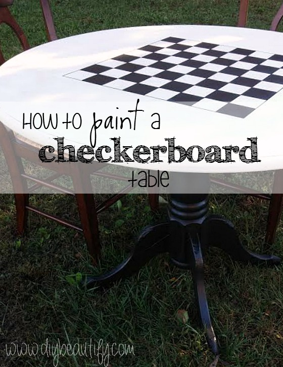 How to paint a checkerboard table at www.diybeautify.com