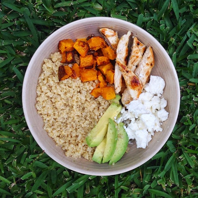 Quinoa Bowls with Roasted Pumpkin, Grilled Chicken, Avocado and Feta