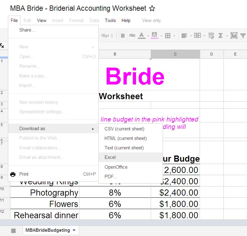 Wedding Budget  The Mba Bride