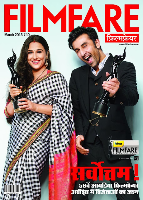 Ranbir & Vidya on cover page of Filmfare Hindi awards issue cover