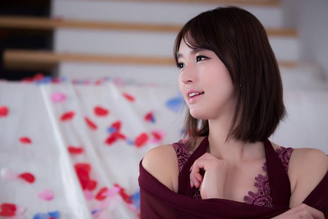 1 Choi Byeol Ha in Maroon  -Very cute asian girl - girlcute4u.blogspot.com