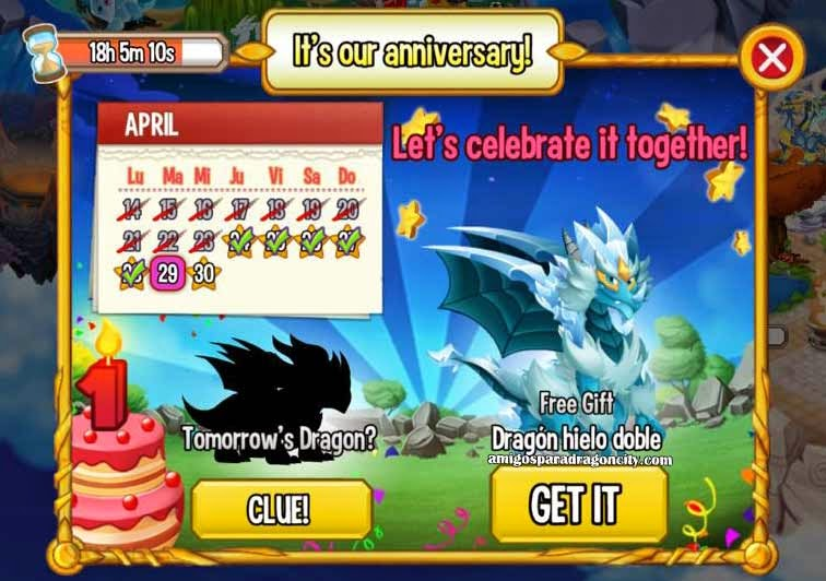 imagen del calendario de aniversario de dragon hielo doble de dragon city ios