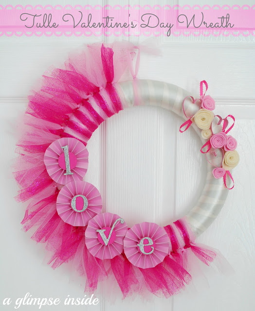 tulle and felt roses valentines wreath diy