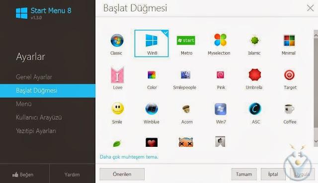 Windows 8 başlat menüsü nasıl aktif edilir