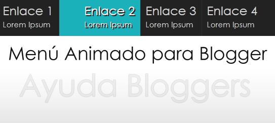 Menú horizontal para Blogger (Con descripción en cada enlace y animaciones).
