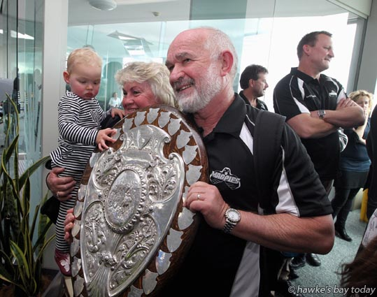 Brian Jenkinson, assistant manager, Hawke's Bay Magpies rugby team, returning to Hawke's Bay Airport, Napier, with the Ranfurly Shield, after beating Otago 20-19 in Dunedin on Sunday. photograph