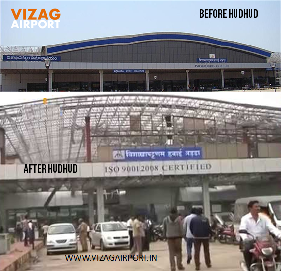 VIZAG AIRPORT BEFORE AFTER HUDHUD PICS
