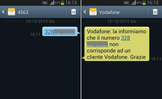 SMS Vodafone per sapere operatore numero cellulare