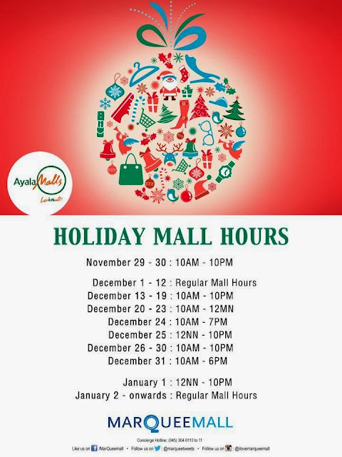 MarQuee Holiday Mall Hours