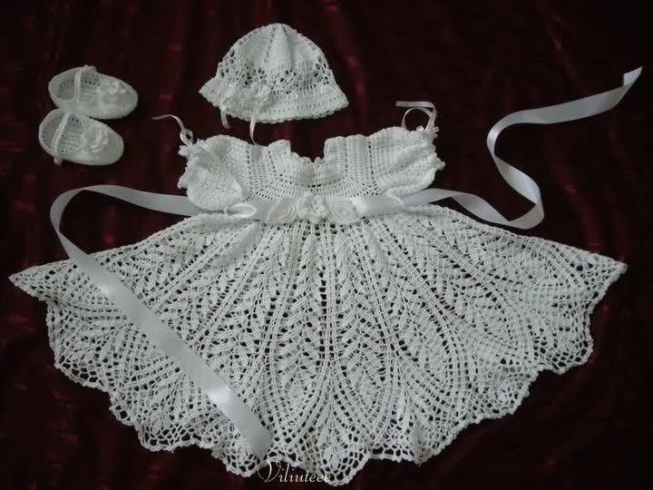 TRICO y CROCHET-madona-mía: Vestido de bautizo para niñas a Crochet ...