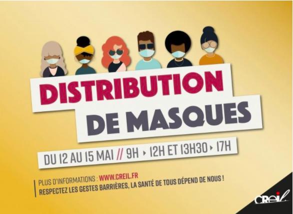 DISTRIBUTION DE MASQUES AUX CREILLOIS.ES - 6 mai 2020