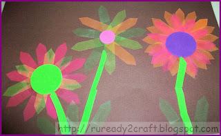 simple self-stick flag dollar store flower craft
