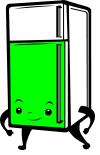 Dessin de frigo avec porte colorée en vert