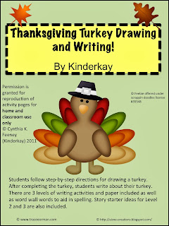 http://www.teacherspayteachers.com/Product/Thanksgiving-Turkey-Drawing-and-Writing-Packet-166972