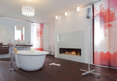 diseño de baño con chimenea