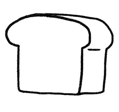食パン・トーストのイラスト モノクロ線画
