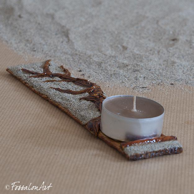 Portacandele albero, in corda sabbia e gommalacca