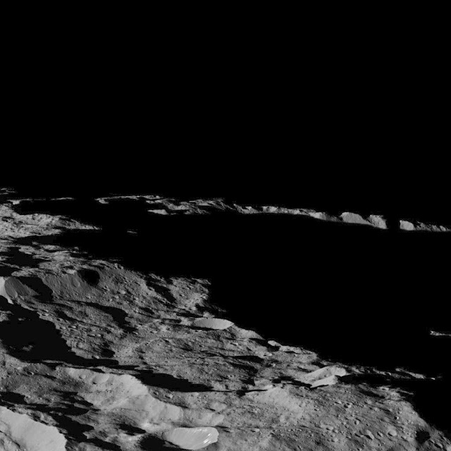 This part of Ceres, near the south pole, has such long shadows because, from the perspective of this location, the sun is near the horizon. Credits: NASA/JPL-Caltech/UCLA/MPS/DLR/IDA