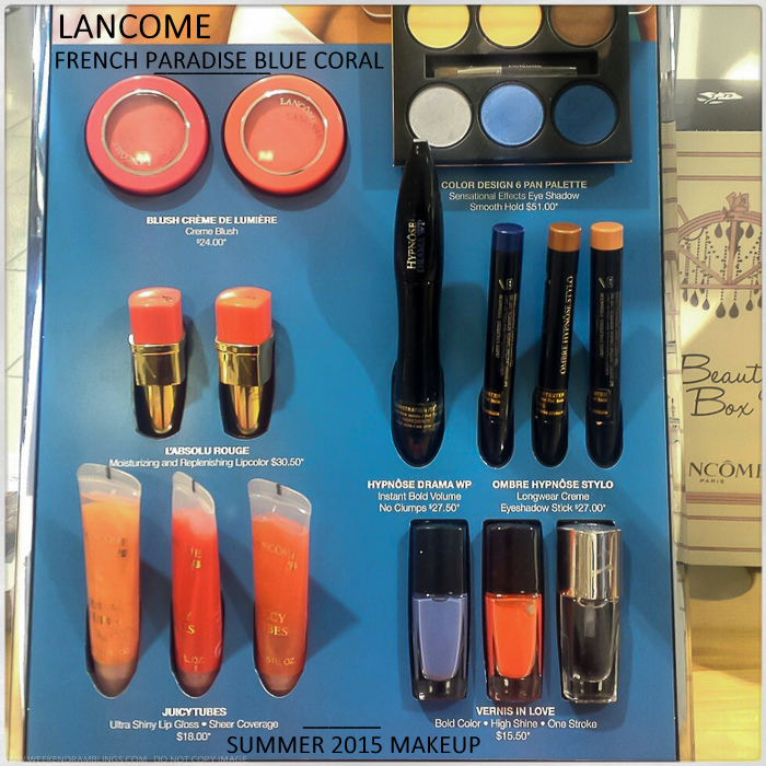 Lancome French Paradise Blue Coral Makeup Collection - Summer 2015 - Swatches