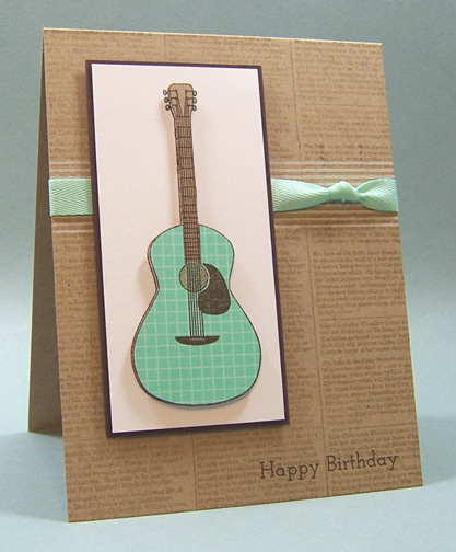 Dont forget to write rhythm soul day 3 so to start todays card i stamped the guitar onto aqua mist bitty boxes patterned paper kraft cardstock and white cardstock i trimmed out just the body m4hsunfo