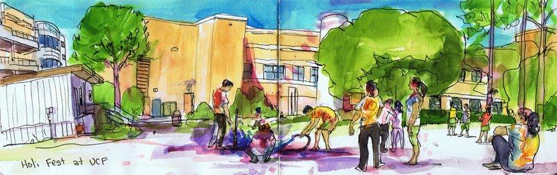 Festival Celebration Drawing a Holi Fest Celebration at