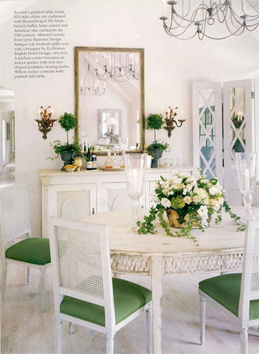 beautiful room - traditional style white dining room with green pops of color