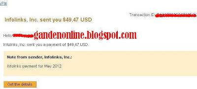 bukti pembayaran pertama dari infolinks