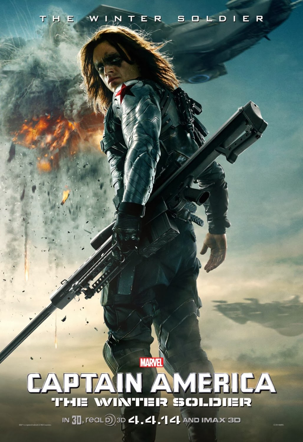 Captain America: The Winter Soldier Teaser Character Movie Poster - Sebastian Stan as Winter Soldier