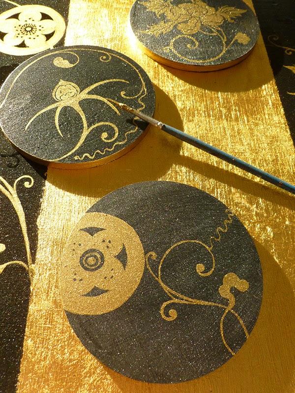 Sottobicchieri stile Edo giapponese dipinti a mano