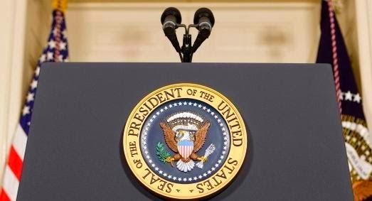 Color photo of Presidential podium