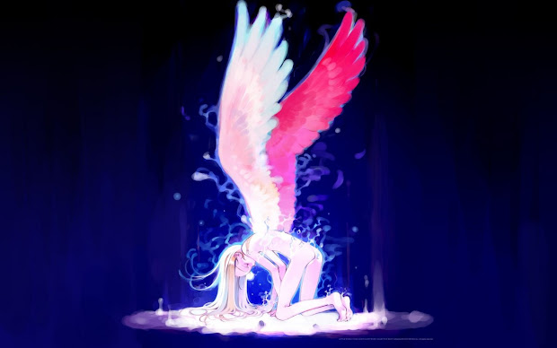 anime angel girl with brown hair