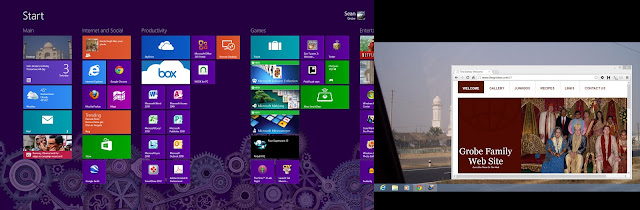 Windows 8 start screen showing app tiles, next to the Windows 8 traditional desktop