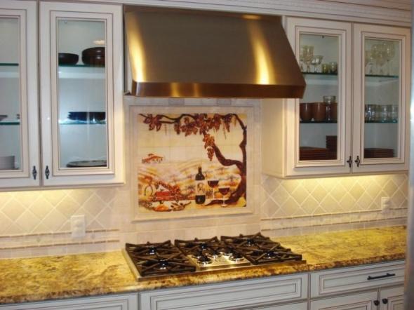 Classic Kitchen Design Idea With The Mural Wallpaper Tile Part 82