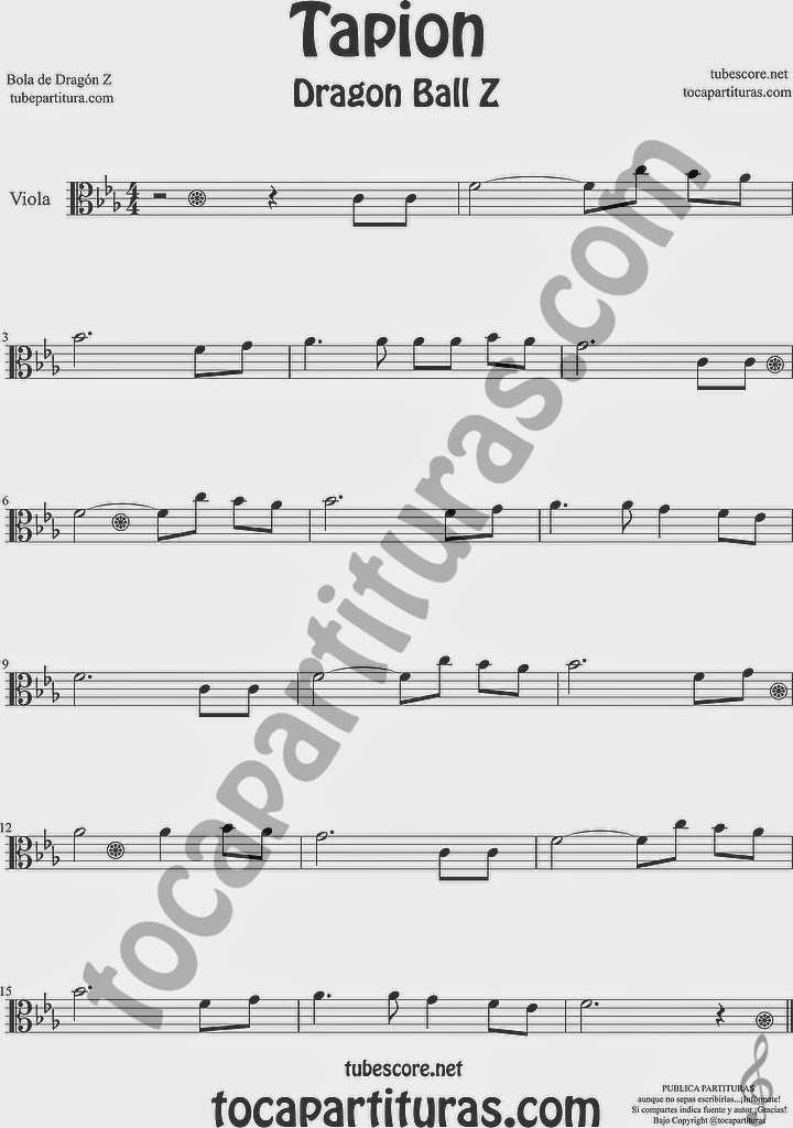 Tapión Bola de Dragón Z Partitura de Viola Sheet Music for Viola Music Score