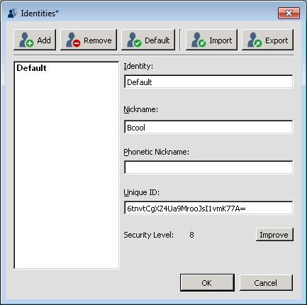 menu identities mengatur profil pengguna teamspeak 3