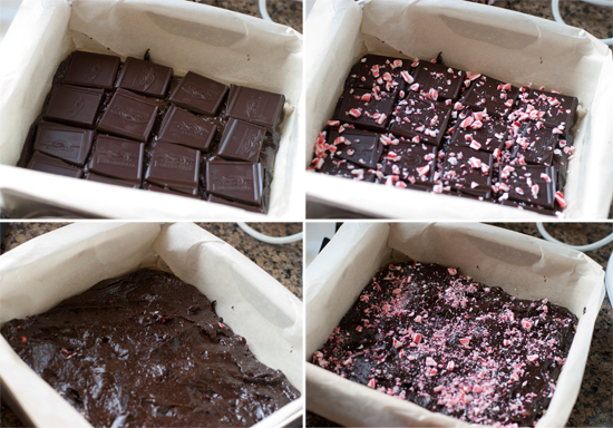 dark chocolate candy cane brownies - Jelly Toast
