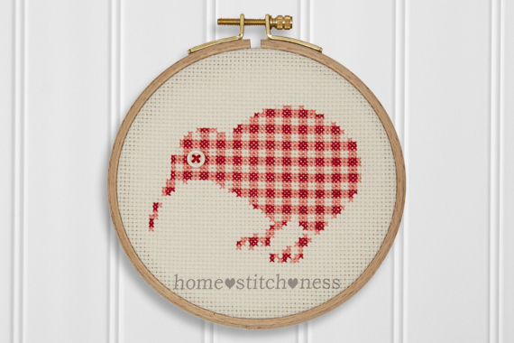 New Zealand Kiwi Cross Stitch Gingham Kiwi Bird Embroidery Hoop Wall Art