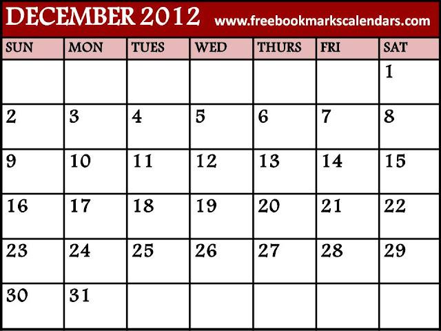 Printable 2014 Monthly Calendar Template December