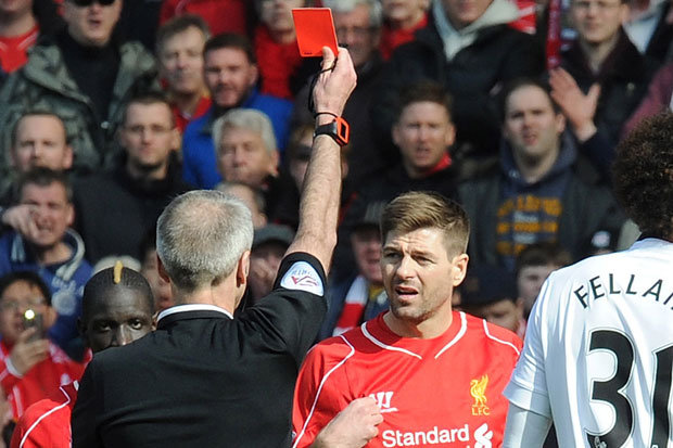 SEEING RED: Gerrard was sent off in the clash last year