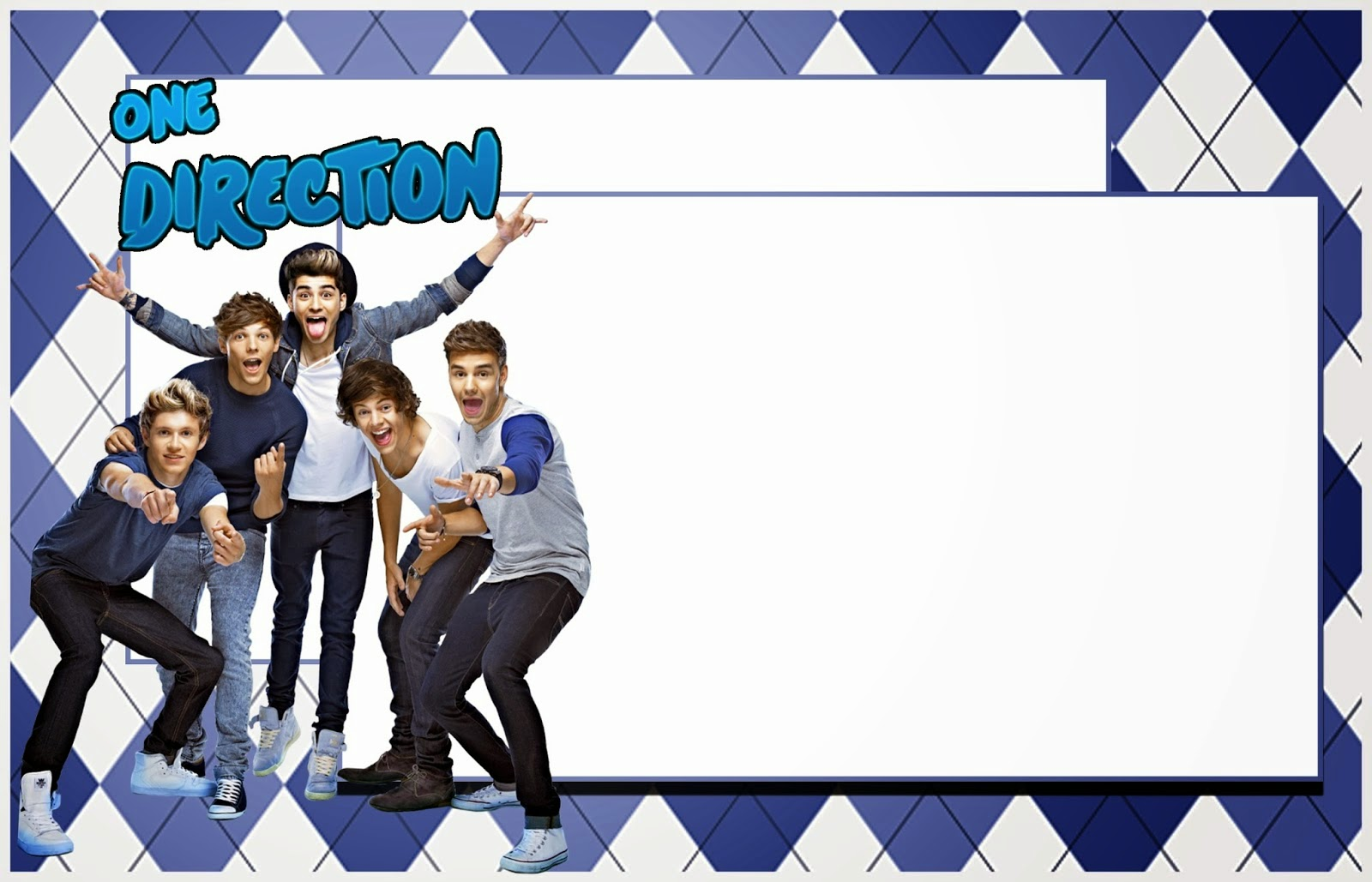 One Direction:Free Printable Invitations, Cards or Photo Frames.