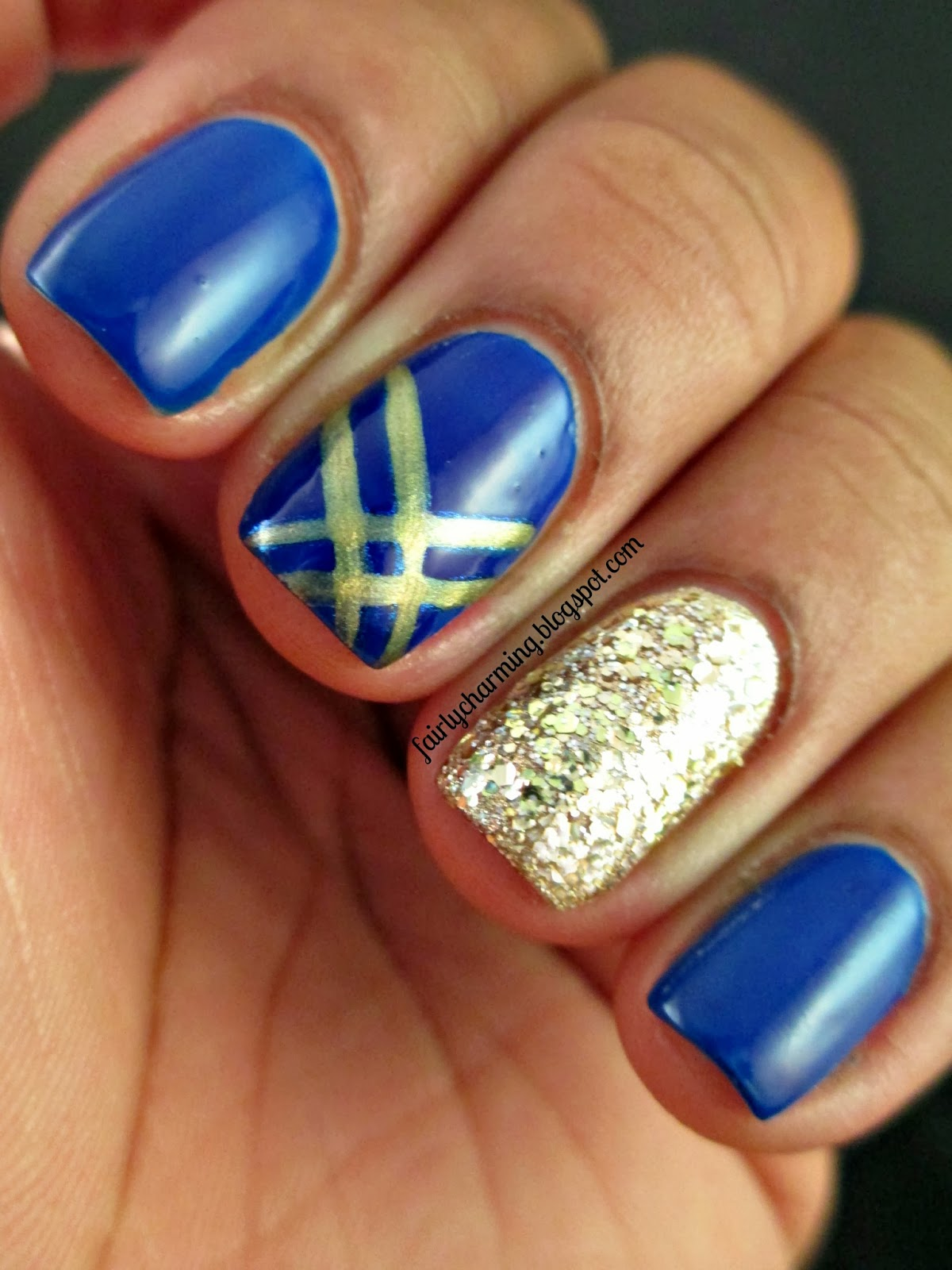 Kleancolor Blueberry Drama, Love & Beauty Gold Glitter, blue, gold, nails, - Fairly Charming: Trending Now - Blue & Gold