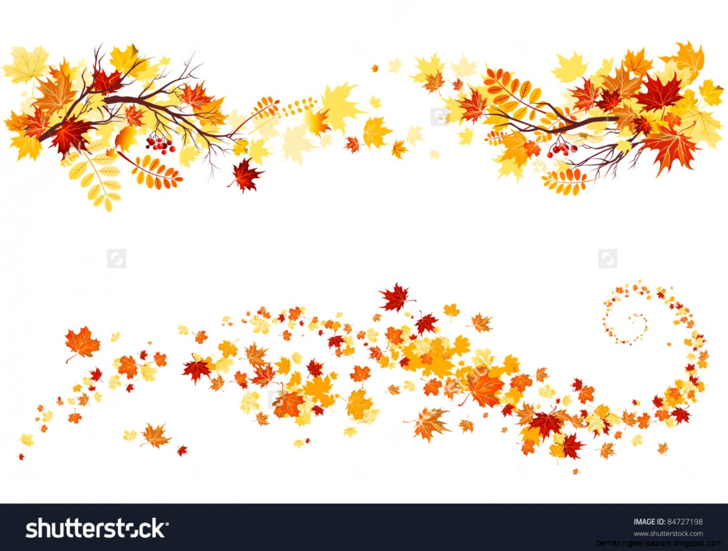 Autumn Leaves Border Stock Vector Illustration 84727198  Shutterstock