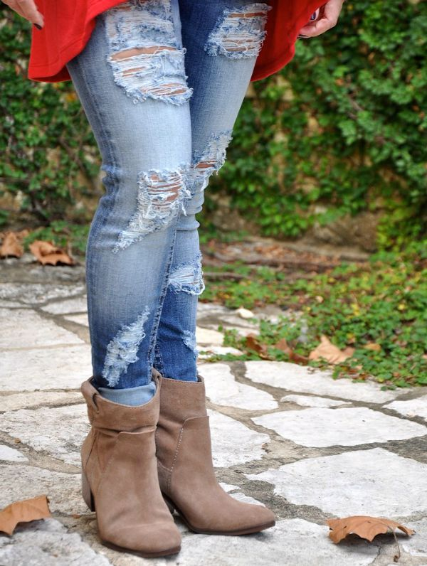 Fall fashion - distressed jeans and booties