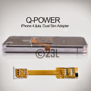 Lastest DUAL SIM CARD ADAPTER + BACK CASE Cover FOR Iphone 4 4G