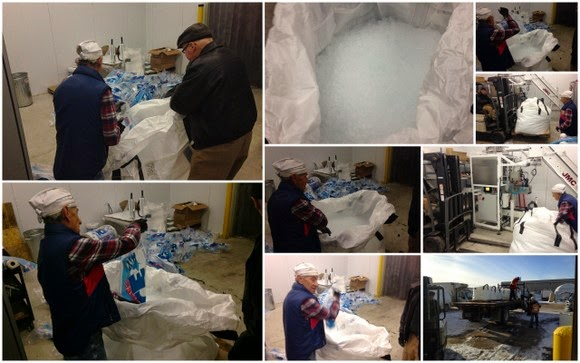 Collage of us putting big bags of ice into grain bag.