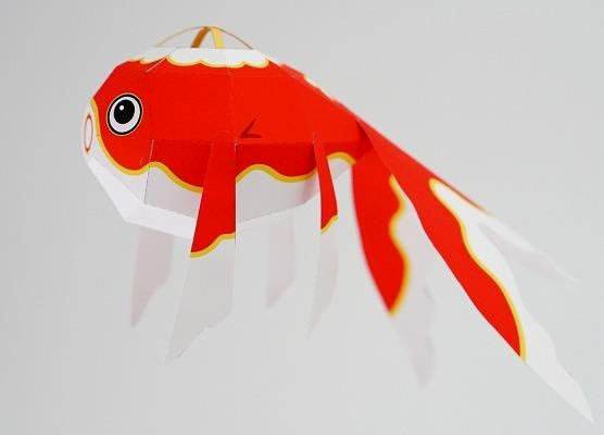 Papermau golden fish lantern paper model by muumin for Paper lantern fish