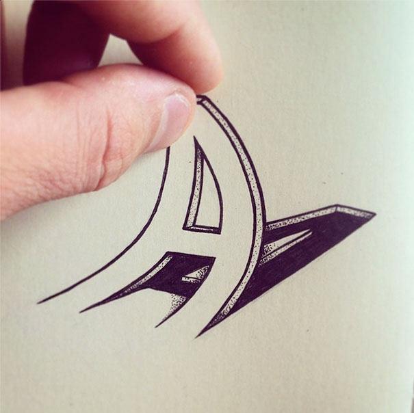 Artista dibuja lúdicas letras que se pueden exprimir, jalar, y doblar