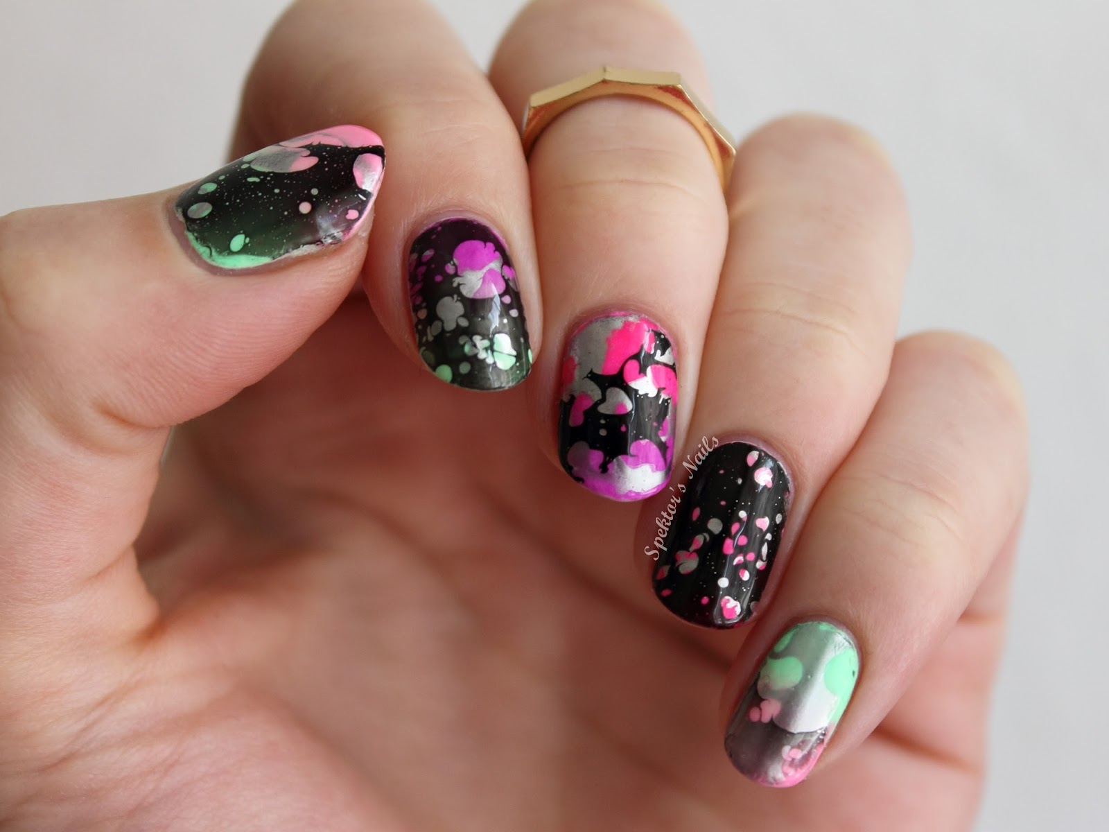 Water Spotted Neon Candy Nails