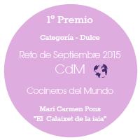 1º Premio categoría dulce reto de Septiembre¡Gracias a Cocineros del Mundo por éste premio!